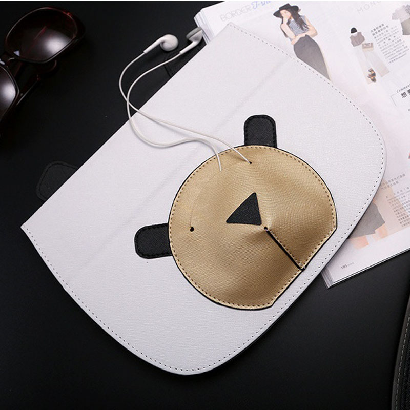 Case for ipad air 1 2 PU Leather Smart Tablets Case for ipad 5 6 mini 2 Cute Bear Flip Stand Headset Storage Cover Auto Sleep diamond pattern card slot tablets metal button case for ipad mini 1 2 pu leather flip stand cover for ipad mini 1 2 3 7 9 fundas
