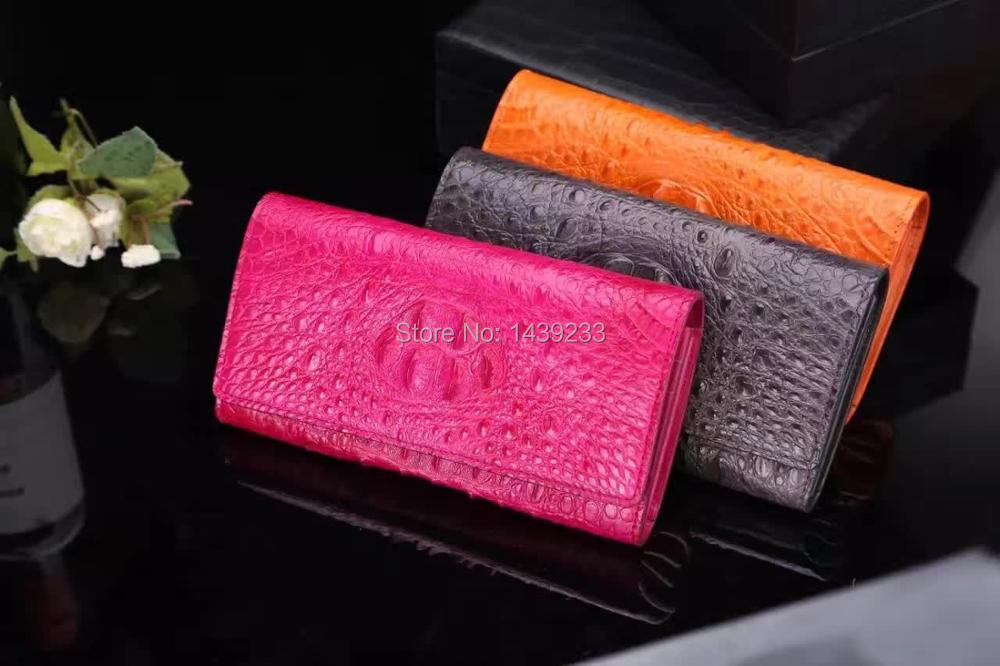100% genuine crocodile leather skin women clutch wallets and purse, alligator skin wallets women clutch shoulder bag with strap