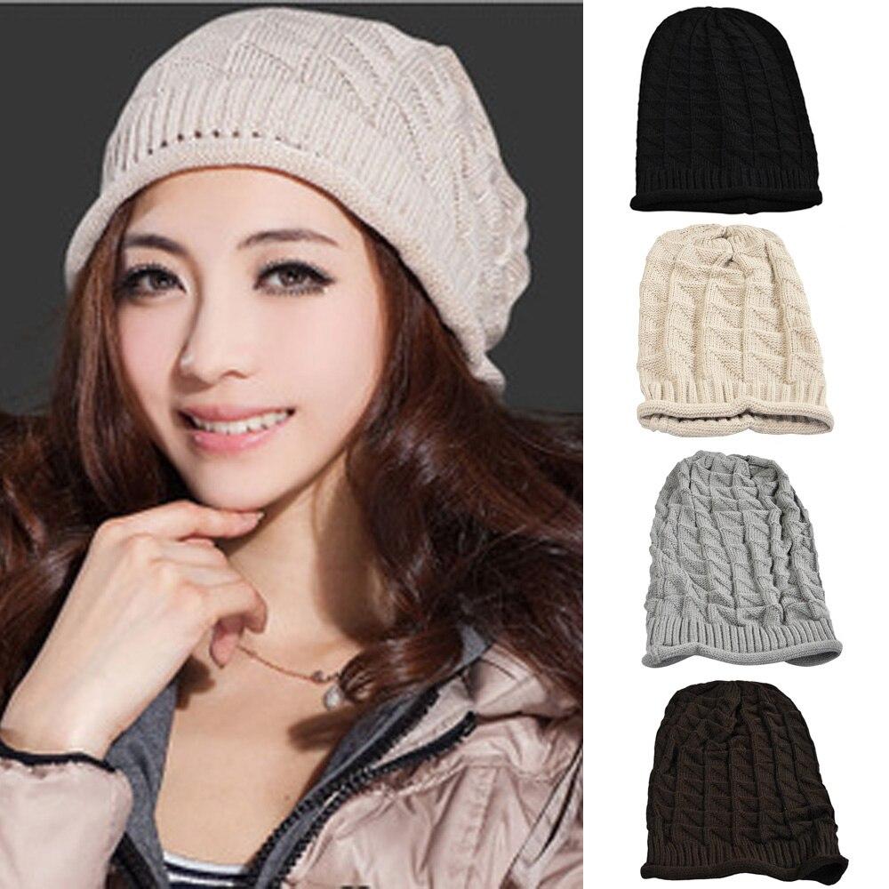 Women Knitted Winter Warm Hat Button Band Crochet Slouch Oversized Beanie Cap  HATBD0021 hot winter beanie knit crochet ski hat plicate baggy oversized slouch unisex cap
