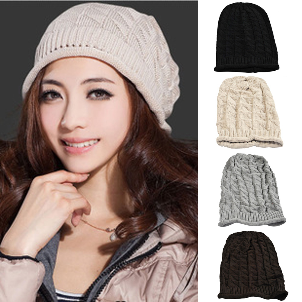 Women Knitted Winter Warm Hat Button Band Crochet Slouch Oversized Beanie Cap HATBD0021