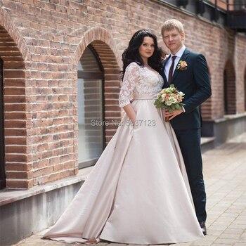 Satin Wedding Dresses 2019 V Neck Half Sleeves Button A Line Plus size Lace Appliques Wedding Bridal Gowns Vestido De Noiva