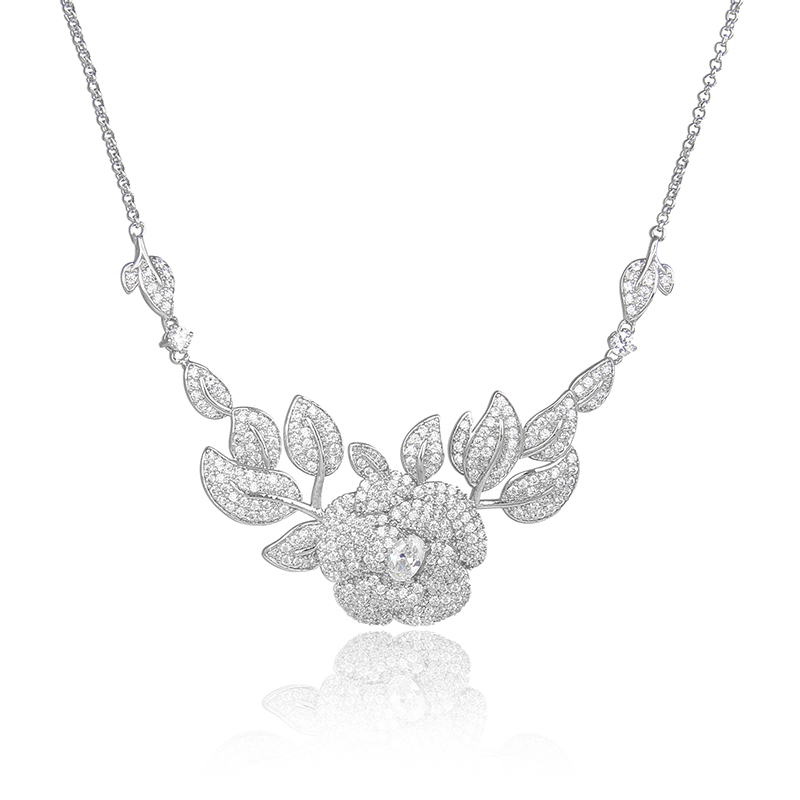 Luxury Platinum Plated Silver Pave Cubic Zirconia CZ Crystal Cluster Rose Flower Bridal Pendant Necklaces