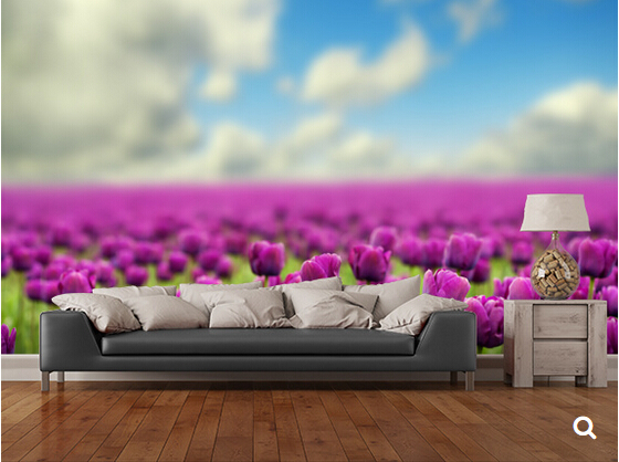 Custom floral wallpaper,Spring Tulips,3D photo murals for modern living room bedroom backdrop waterproof wallpaper