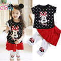 2017 New Girls Clothing Set Minnie dot Cartoon short t-shirt + culottes 2pcs/set pants children's clothing kids free shipping