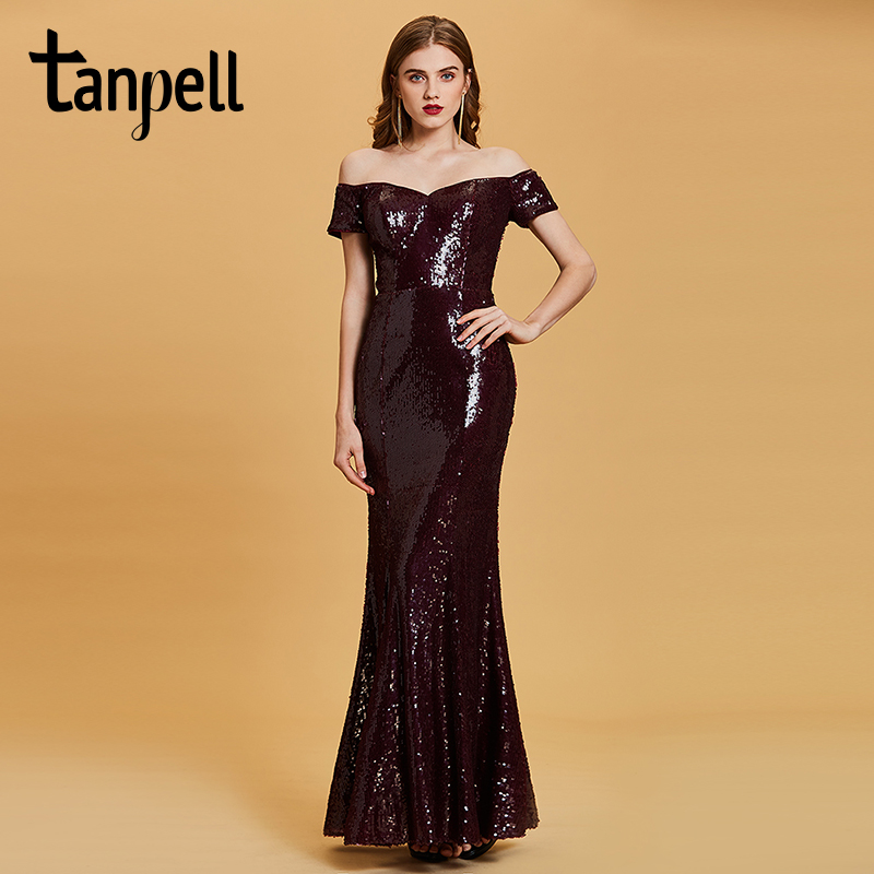 Tanpell off the shoulder evening dress burgundy sequins floor length gown women short sleeves formal long