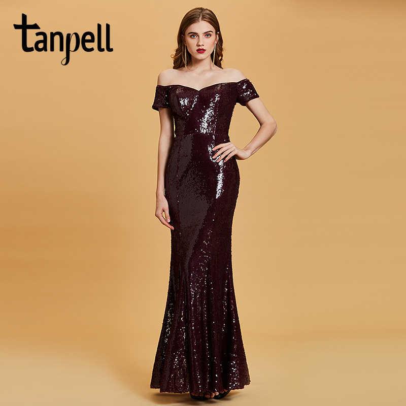 4da75f684e0f Tanpell off the shoulder evening dress burgundy sequins floor length gown  women short sleeves formal long