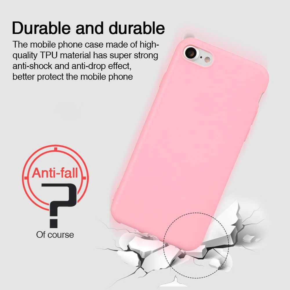 Candy Kleur Matte Telefoon Case Voor Iphone 7 Plus 6 6 S 8 7 Plus Case Voor Iphone Xs Max X Xr Eenvoudige Solid Soft Tpu Gevallen Back Cover