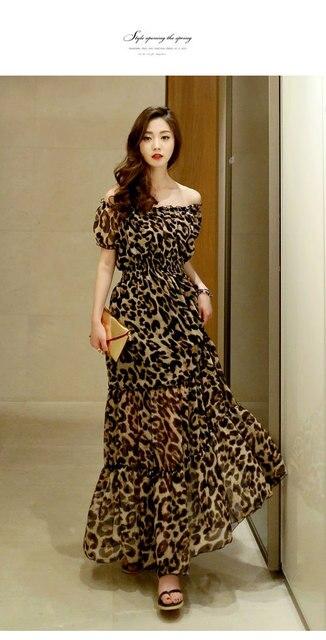 bb585883de Bohemian Long Women Leopard Print Maxi Dress Sexy Short Sleeve Slash Neck  Womens Summer Beach Dresses Party Night Club Dress 8