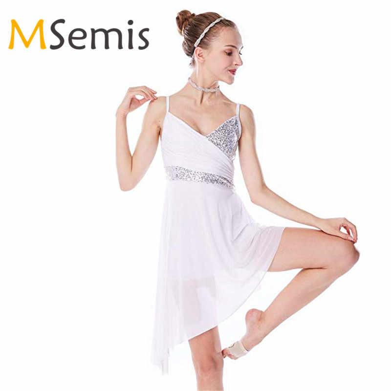 Платье для латинских танцев для девочек, гимнастическое трико для девочек, с v-образным вырезом, блестками, асимметричным подолом, костюм для латинских танцев, платье для лирического танца