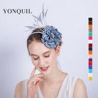 多色花フェザーヘアクリップ魅惑的なパーティー頭飾り羽花ケンタッキーカクテルパーティーヘアクリップヘアアクセサリー