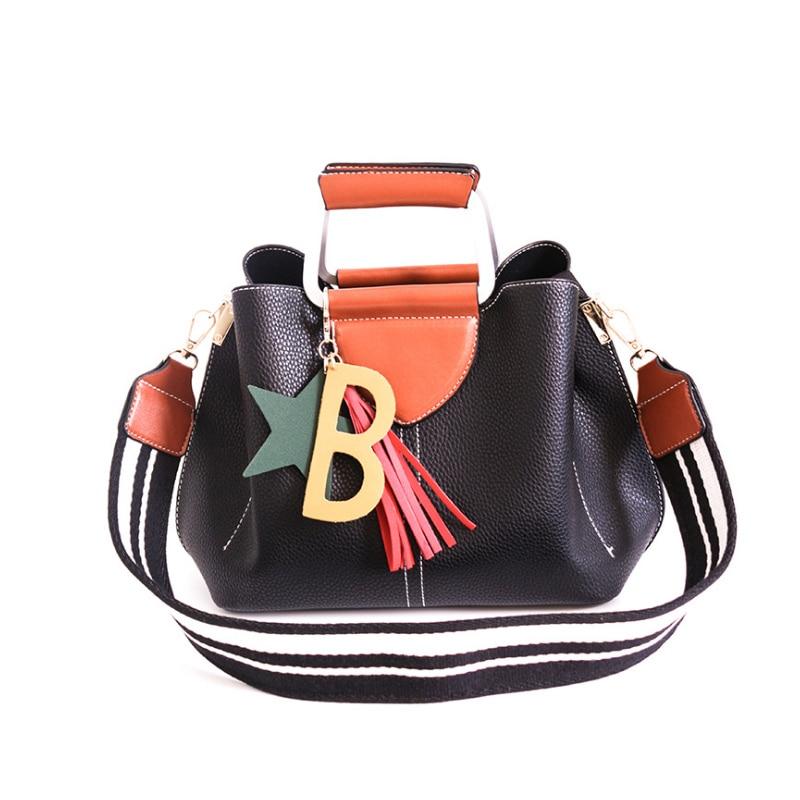Luxury Handbags 2018 Designer Women Leather Wide Strap Bag Female Shoulder Bag Women Messenger Bags Bucket Tote Big