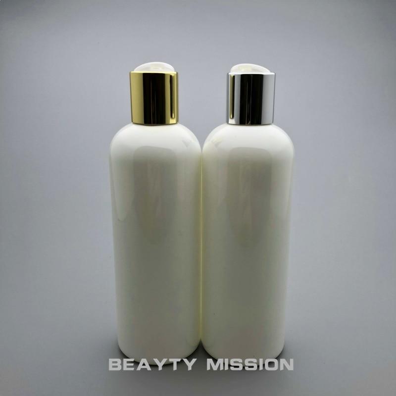 BEAUTY MISSION 20pcs 300ml Disc top Cap White bottle Empty Plastic PET Lotion Bottle travel size