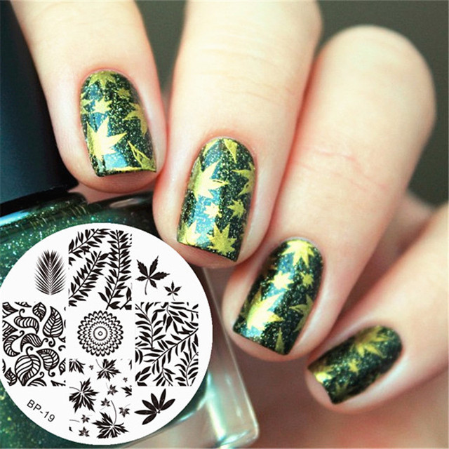 BORN PRETTY Leaves Theme Nail Art Stamp Template Image Plate ...