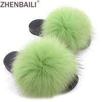 ZHENBAILI Size 36 43 Summer Women Sandals Fashion Solid Big Fluffy Faux Fur Flat Sliders Soft Black Soft Ladies Slippers