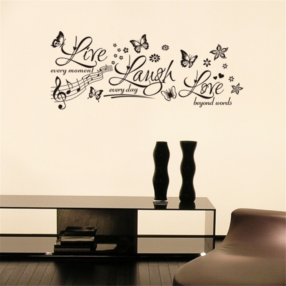 Live Laugh Wall Stickers Living Room Bedroom Kids Room Butterfly Flower Wall Papers Removable