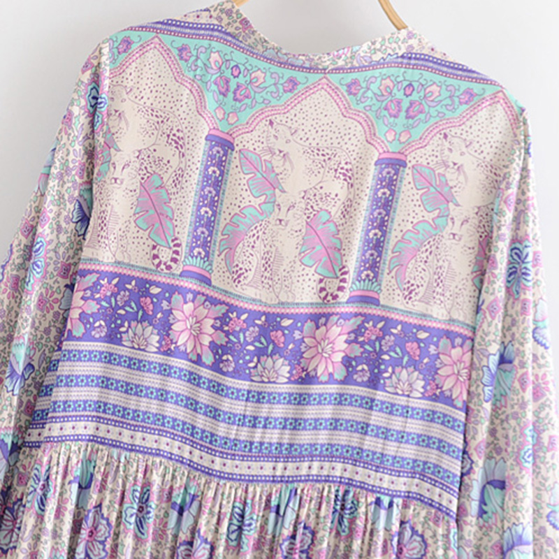 Boho Chic Summer Vintage Ethnic Floral Print Midi Dress Women 2019 Fashion Long Sleeve Pleated Beach Lady Dresses Femme Vestidos