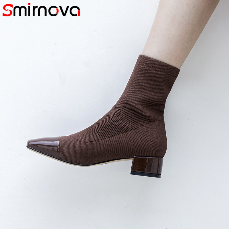 Smirnova 2018 fashion autumn shoes woman square toe prom boots women med heels shoes genuine leather ankle Elastic boots