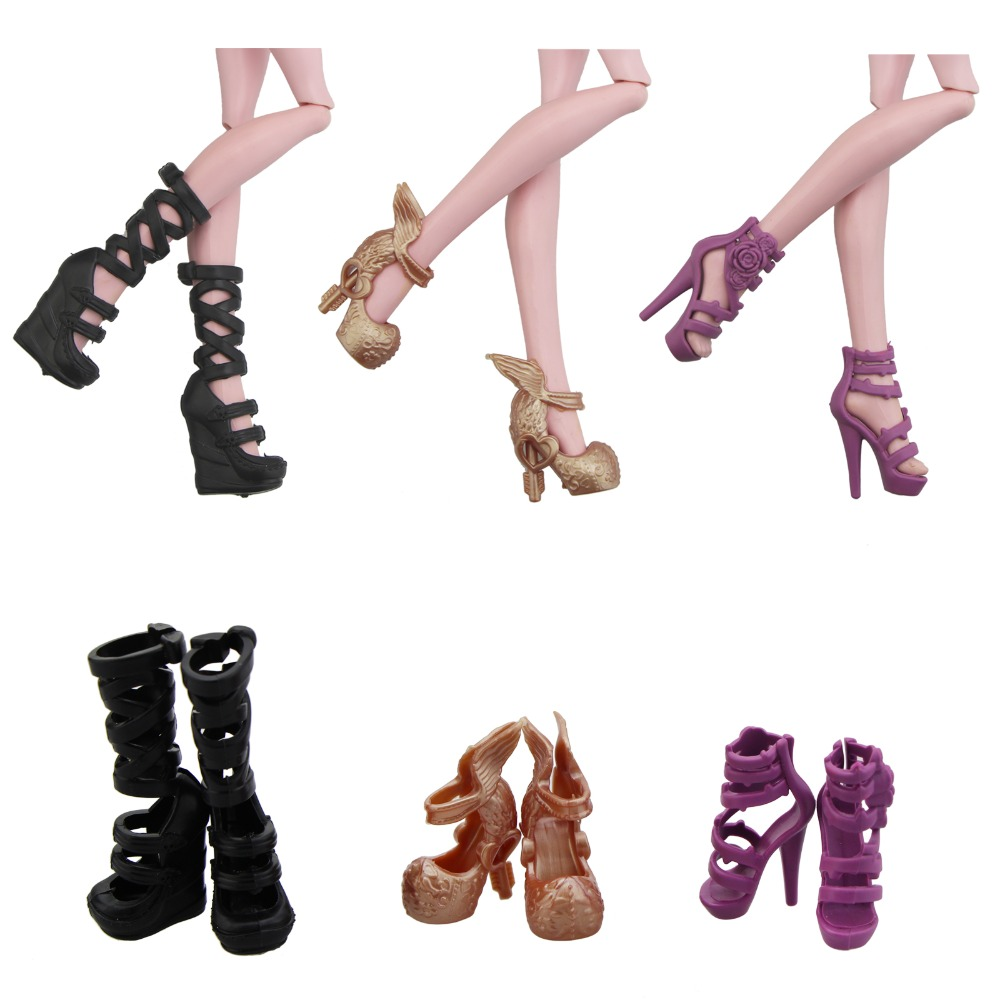 Random Shoes Heels Sandals For Doll Fashion Party Dress 3 Pairs FAST SHIPPING
