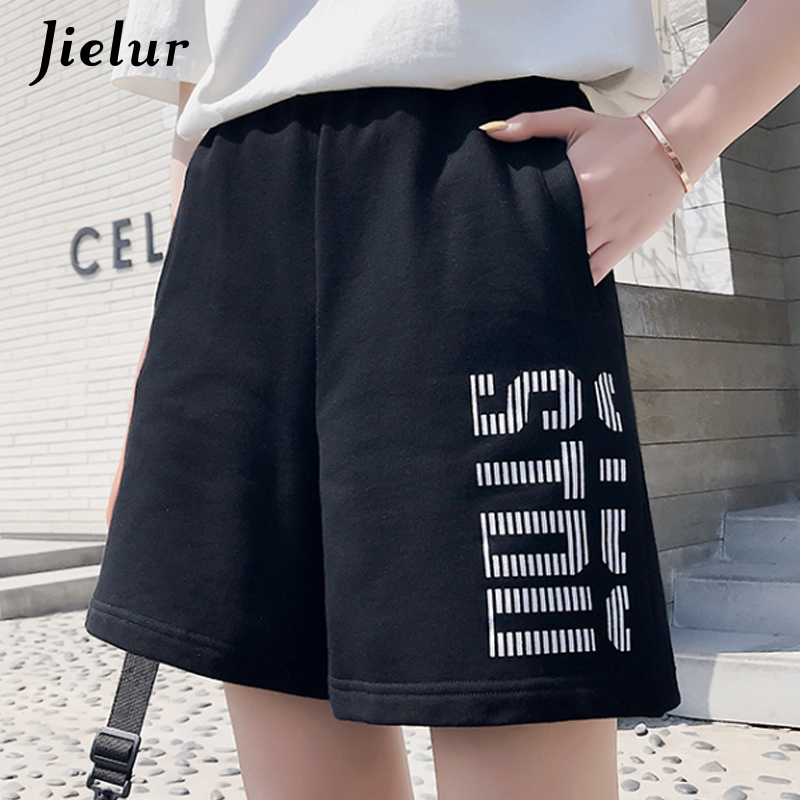 Jielur Summer Shorts Trousers Feminino High-Waist Femme Casual Women New Solid-Color