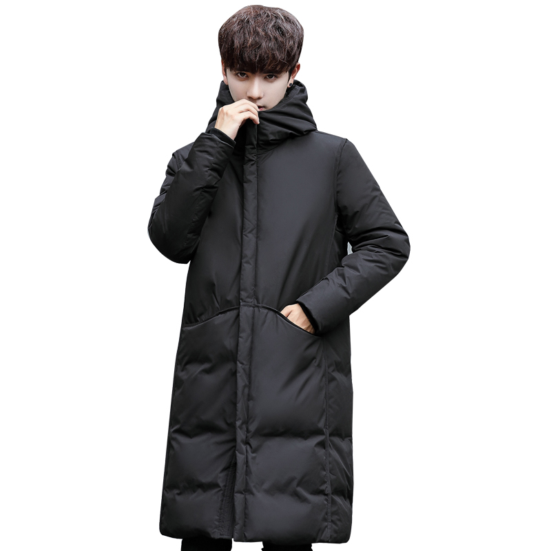 2020 New Thick Winter Men's White Down Jacket Brand Clothing Hooded Black Gary Long Warm White Duck  Coat Male Coats