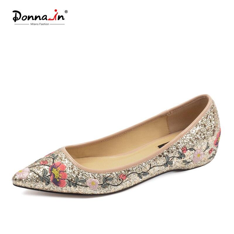 Donna-в танкетка Туфли-лодочки Для женщин Элегантный острый носок удобные блеск вышитые модные черные Золотистые туфли для дам
