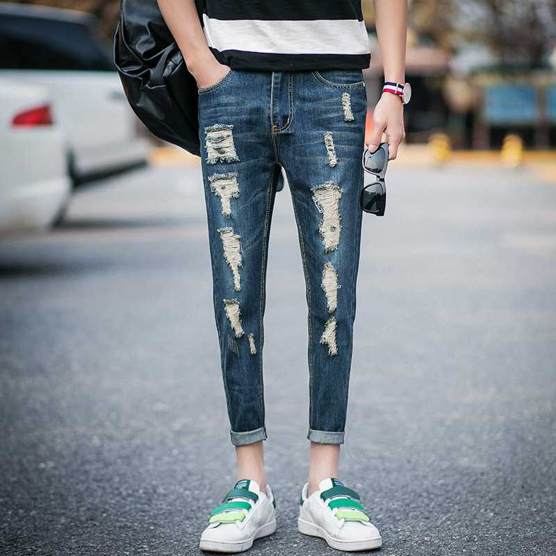#1418 Skinny Slim fit denim jeans men Fashion Summer 2016 Thin Pantalon homme Jeans famous men Distressed Ripped jeans for men