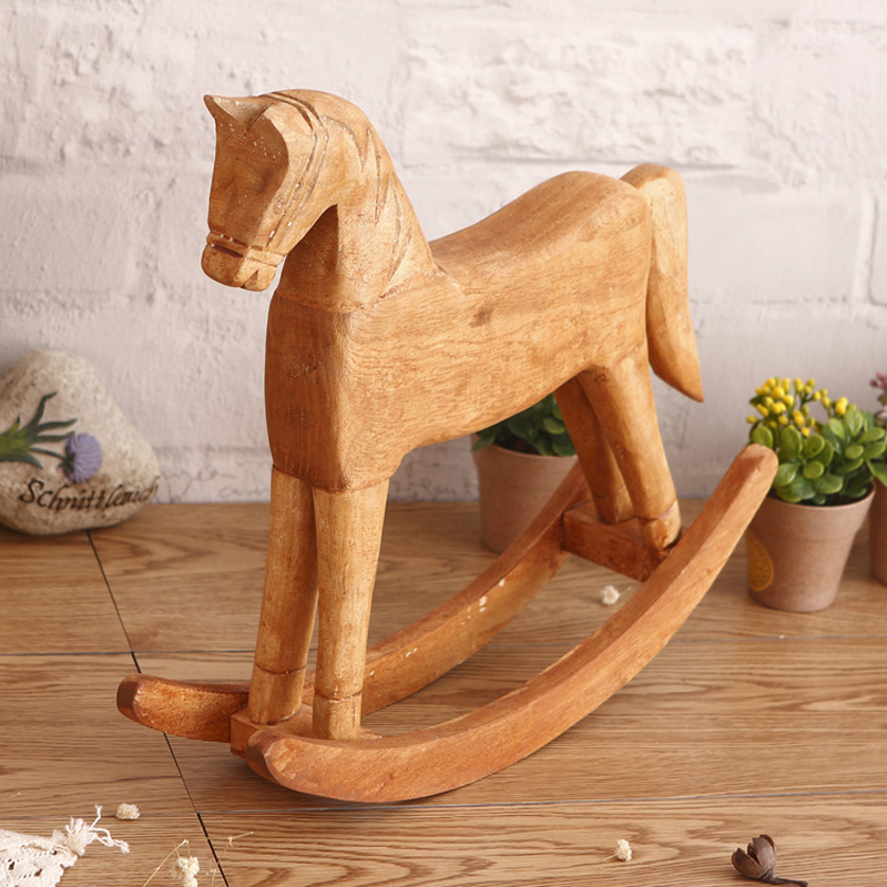 Wood Rocking Horse Figurine Solid Color Animals Furnishing