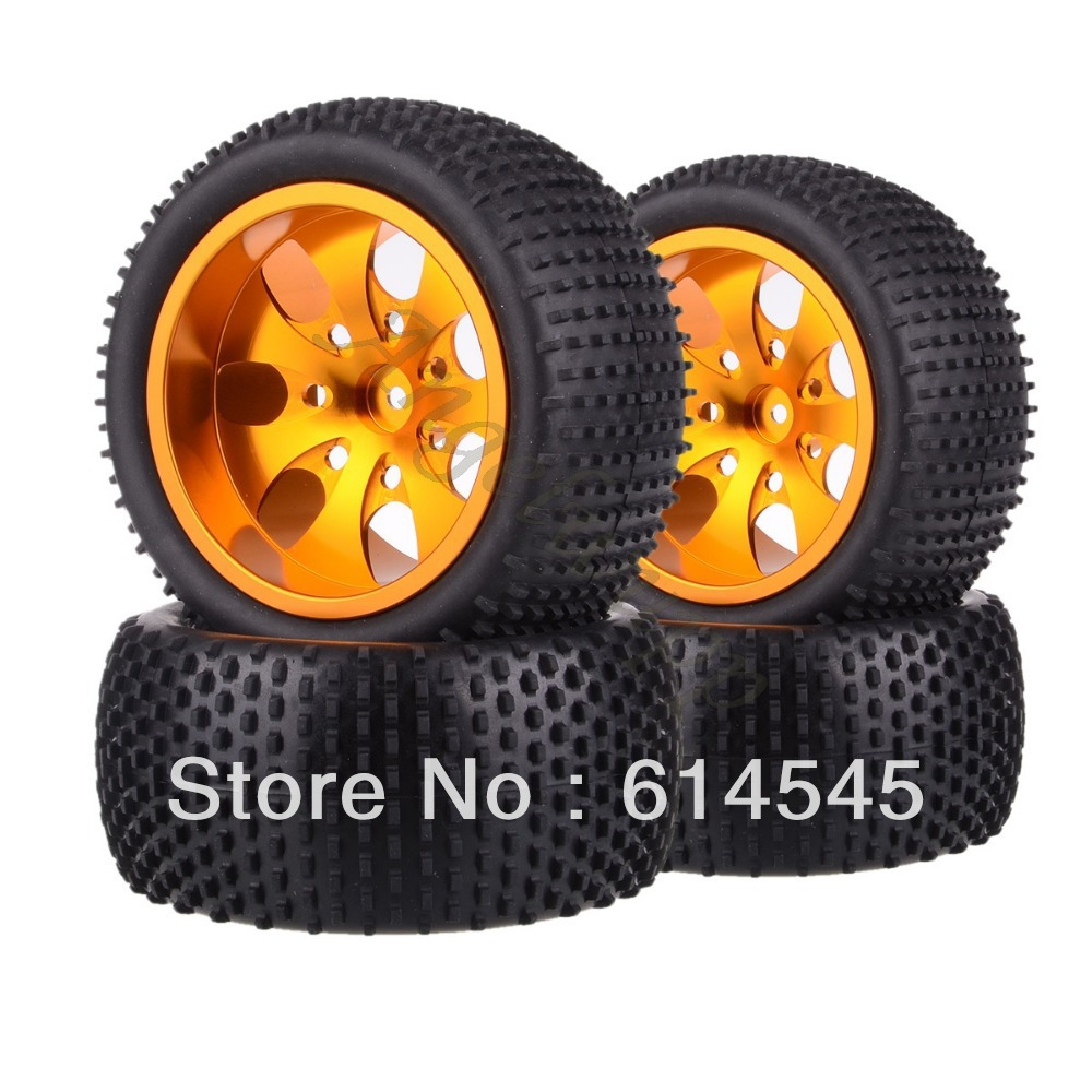 4xRC Monster Truck Bigfoot Metal 1:10 Wheel Rim & Tyre Tires 12MM HEX 88122 4pcs lot 2 2 rubber tires tyre plastic wheel rim 12mm hex for redcat exceed hpi hsp rc 1 10th off road monster truck bigfoot