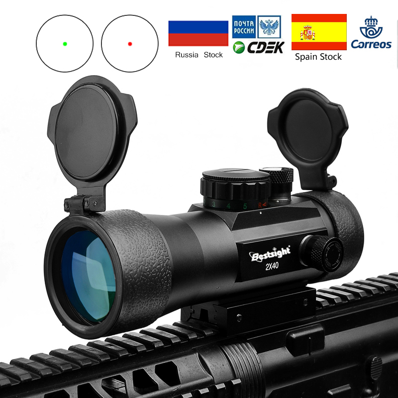 2x40 Green Red Dot Sight Scope Tactical Optics Riflescope Fit Picatinny Rail Mount 20mm 11mm Rifle Scopes For Hunting