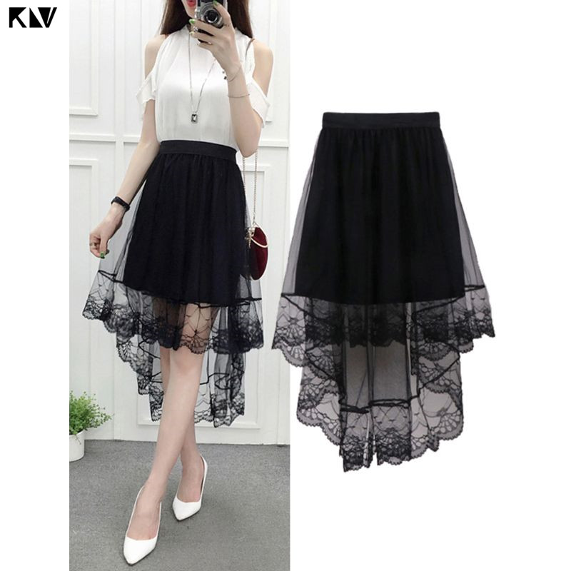 KLV Women Summer High Waist Layered Sheer Mesh Swallowtail Midi Long Skirt Asymmetric Scalloped Lace Hem Pleated Party Skirt