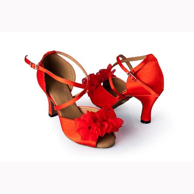 De Danse Femmes Satin Femme Salle Rouge Bal Chaussures Latine 6wIIqYE