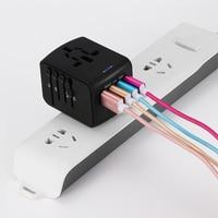 FORNORM Universal Travel Charger Adapter 4 USB Part Adaptor Worldwide Electrical Socket US UK EU AU International Travel Plug 3