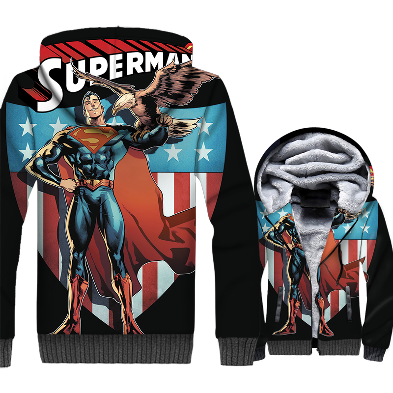 Superman Jacket Hoodie Men Fitness Hooded Sweatshirt Winter Thick Fleece Warm Zipper Super Hero Coat Cool 3D Print Streetwear