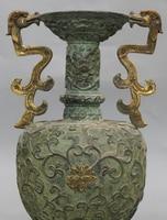 """11 """"Oznaczono Chiński Dynastii Pałac Brąz Pozłacany R0709 Carving Kwiat Wazon Posąg Smoka w Posągi i rzeźby od Dom i ogród na"""