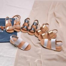 Новинка; детские сандалии для малышей; сандалии с открытым носком для девочек; Милая обувь принцессы; кожаная детская летняя пляжная обувь; сандалии для мальчиков на липучке