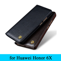 Honor 6x Case Luxury Real Leather Cover BusinessGenuine Leather Flip Phone Case Skin Protector for Huawei Honor 6X