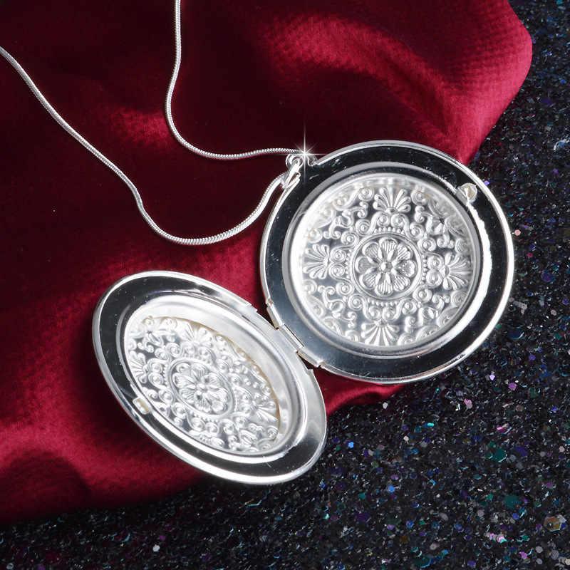 Okrągłe zdjęcie kwiatu Box naszyjnik dla kobiet naszyjniki 925 srebro biżuteria Charms biżuteria Choker M615