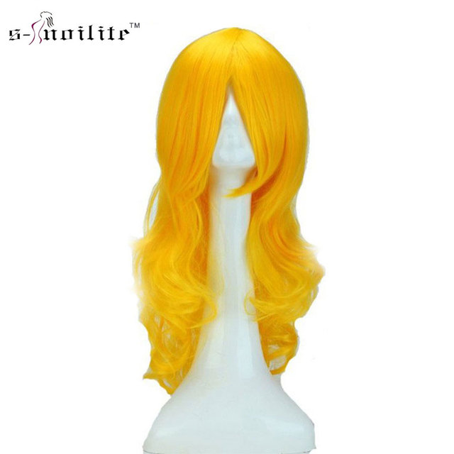 SNOILITE 24inch 60cm Long Curly Yellow Women