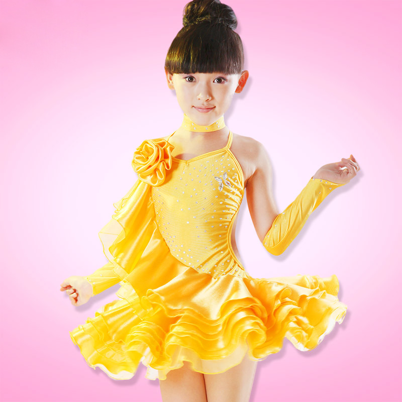 110-160cm Children Latin Dance Dress Children Fancy Dress Tango Dress Girls Ballroom Dancing Samba Costumes Salsa Dance Dresses