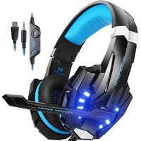 KOTION chaque Casque de jeu stéréo Casque de jeu de basse profonde Casque avec Microphone lumière LED pour ordinateur portable PS4 PC Gamer