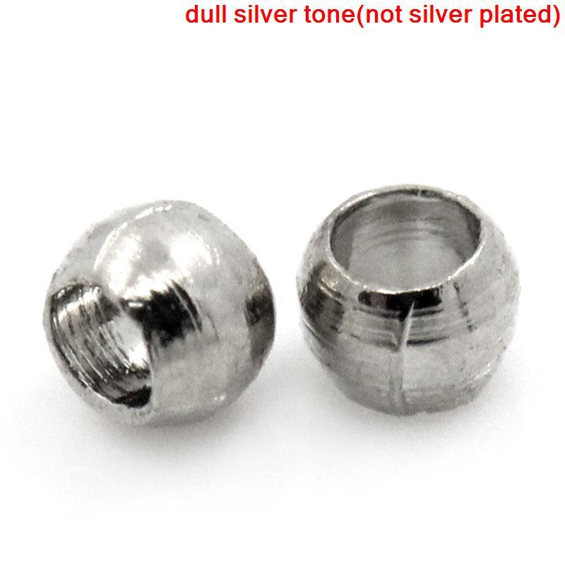 DoreenBeads Copper Crimp Beads Round Silver Tone 1mm 1.5mm Dia,250 PCs