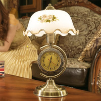 Vanilla American Table Lamp Bedroom Bedside Lamp Retro Chinese Style With Decorative Glass Living Room Clocks
