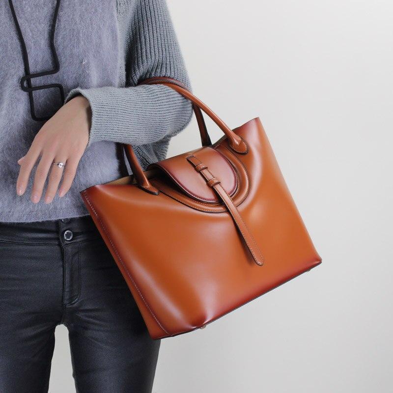 Women s Handbag 2019 Large Capacity Totes Handmade Shoulder Sling Bags Fashion Ladies Top handle Genuine
