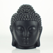 Ceramic aromatherapy oil burner, Buddha head aromatherapy oil station, black and whiteTemple / Home