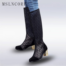 Size 34-43 New Fashion Thigh High Heel Gladiator Sandals Boots Women Sexy Netted Cut-out Over Knee Zipper Lace Cool Boots Sandal цена в Москве и Питере