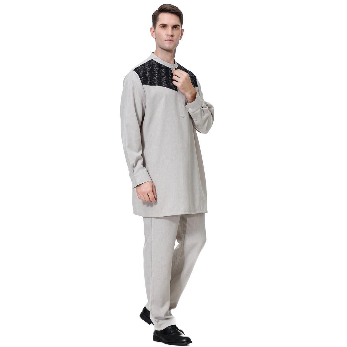 de Manga Longa Túnica Branca Paquistão Ropa Turca blusa + calça