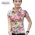Brand Clothing 2017 Summer Women's T-shirt Floral Printing Polo Shirts Slim Fit Female T Shirts Casual Tops Tee Plus Size JA2210