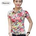 Brand clothing 2017 mujeres del verano camiseta de la impresión floral camisas de polo Slim Fit Mujer T Shirts Casual Tops Camiseta Más El Tamaño JA2210