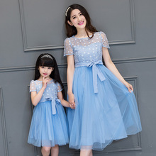 2017 new mother daughter dresses women fashion blue lace flower mesh dress family look long summer
