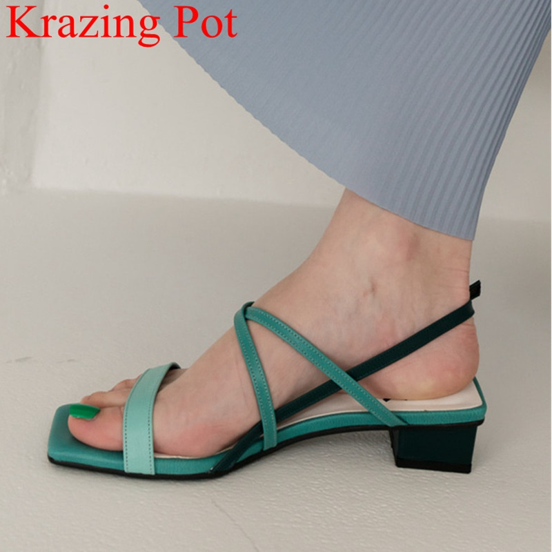 2019 superstar peep toe cow leather square heel sandals buckle strap concise high heels casual sweet